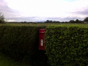 photo od post box opposite Meadow Lodge